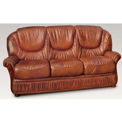 Italian Medium Brown Genoa 3 Seater Sofa | DesignerSofas4U