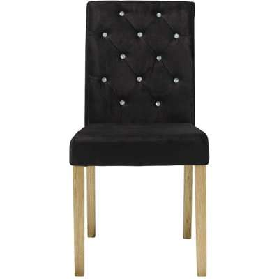 Goran Black Velvet Set Of 2 Dining Chairs With Crystal Buttons