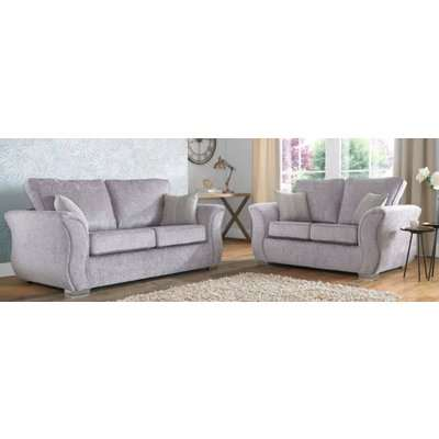 Interest Free Credit Fabric Sofa | large silver sofa suite…