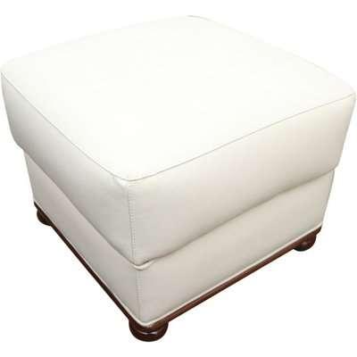 Italian Leather Footstool Pouffe Cube Cream