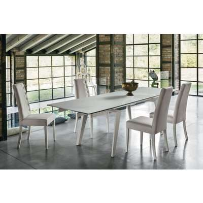 LIBECCIO 180 cm Extendable Dining Table With White Painted…