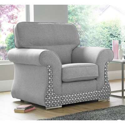 Luna Armchair 1 Seater Fabric Sofa Settee Upholstered In…