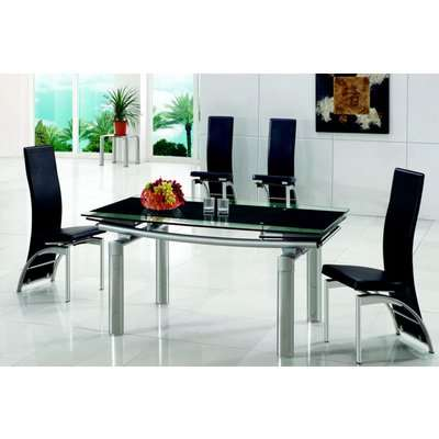Olivia Black Glass Extending Dining Table