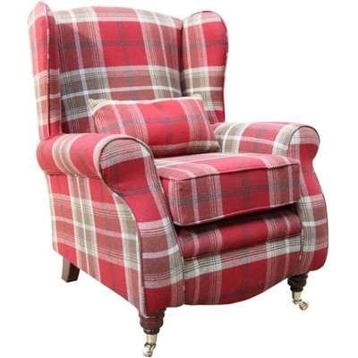 Sherlock Wingback Fireside High Back Armchair Balmoral Red…
