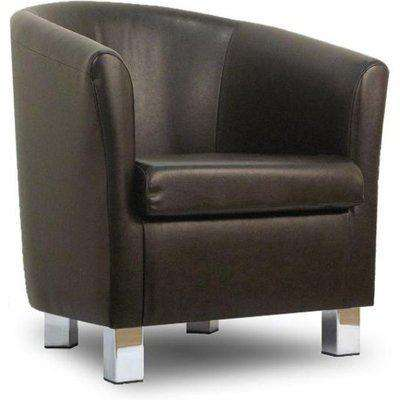Small Leather Sofa Tub Chair Badger Chrome Legs