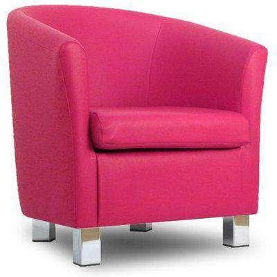Small Leather Sofa Tub Chair Fuschia Pink Chrome Legs