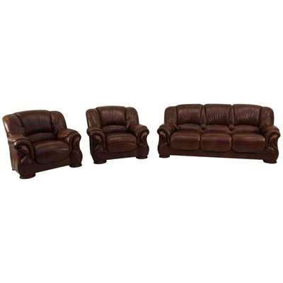 Susanna 3+1+1 Italian Leather Sofa Suite Tabak Brown Offer