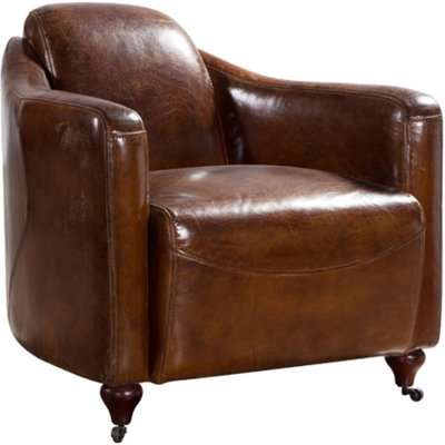 Vintage Distressed Leather Club Chair