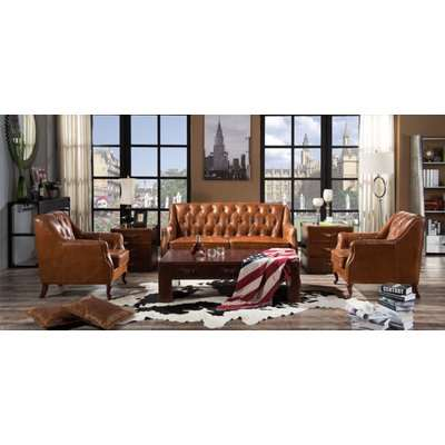 Vintage Distressed Tan Leather Chesterfield 2 Seater Sofa