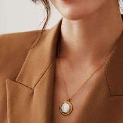 Anna Beck Coin Pearl Pendant Necklace NK 10311 GPL