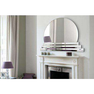 Art Deco Original Handcrafted Over Mantle Wall Mirror - Sol in Silver