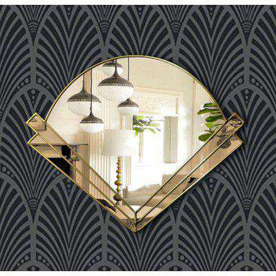 Clarice Original Handcrafted Art Deco Fan Over Mantle Wall Mirror with Bronze Tinted Mirror and Go..