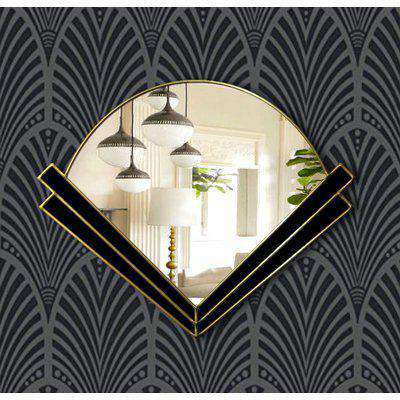 Clarice Original Handcrafted Art Deco Fan Over Mantle Wall Mirror with Black Glass and Gold Trim