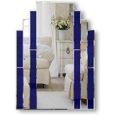 Classic Blue Art Deco Over Mantle Wall Mirror