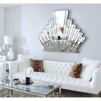 Detroit Art Deco Original Handcrafted Over Mantle Wall Mirror with a Gold Trim