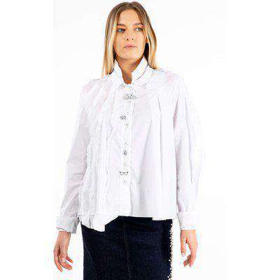 Elisa Cavaletti EJW211040600 White Double Collar Shirt Small