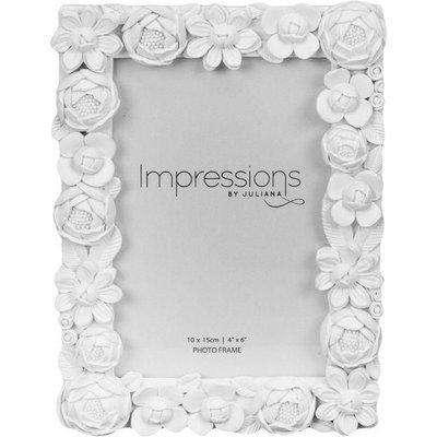 White Floral Photo Frame 4x6