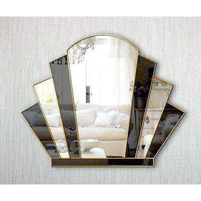 Gatsby Original Handcrafted Art Deco Over Mantle Fan Wall Mirror with Black Glass and Gold Trim