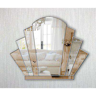 Gatsby Original Handcrafted Art Deco Over Mantle Fan Wall Mirror with Bronze Tinted Mirror and Silver Trim
