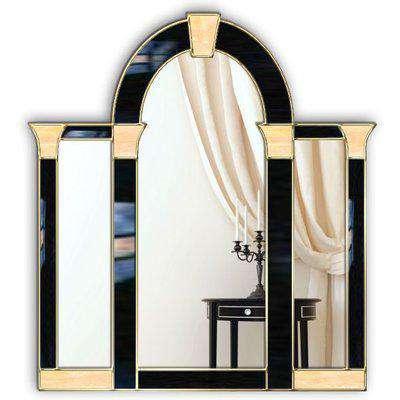 Grosvenor Original Handcrafted Art Deco Over Mantle Wall Mirror in Black & Gold