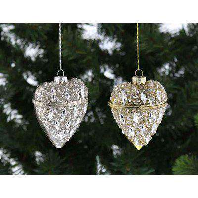 Heart-Shaped Trinket Boxes - Silver/Gold