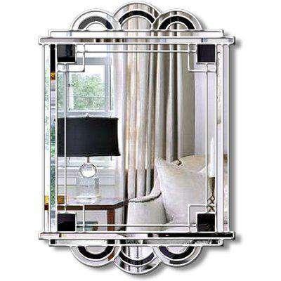 Hepburn Original Handcrafted Art Deco Over Mantle Wall Mirror in Silver