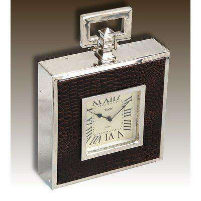 London - Nickel Plated and Leather Table Clock