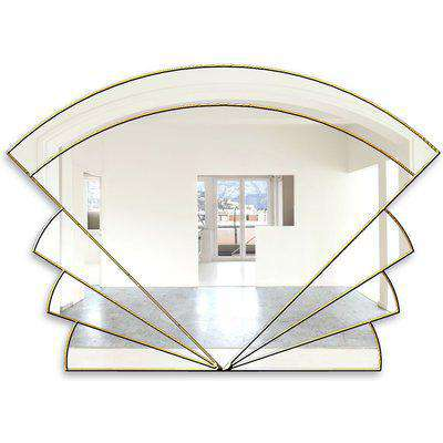 Marianne Original Handcrafted Over Mantle Art Deco Fan Mirror in Gold