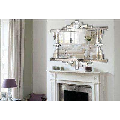 Mia Original Ornate Art Deco Over Mantle Fan Wall Mirror with a Silver Trim