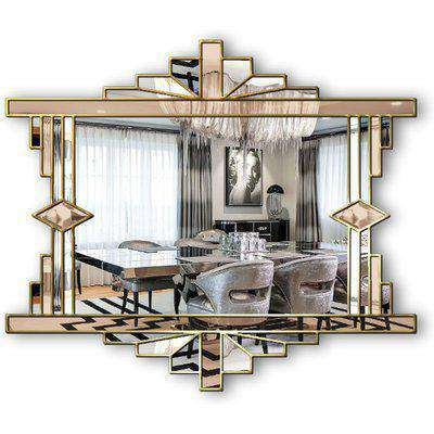Mia Original Ornate Art Deco Over Mantle Fan Wall Mirror with Bronze Tinted Mirror and a Gold Trim