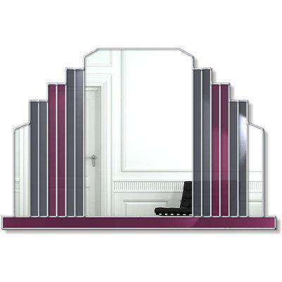 Milan Original Handcrafted Art Deco Over Mantle Wall Mirror - Grey & Purple