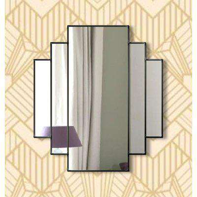 Mirage Original Handcrafted Classic Art Deco Over Mantle Wall Mirror in Black