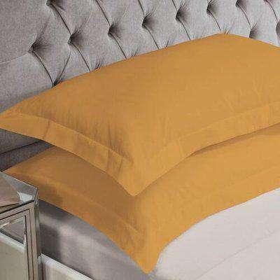 Ochre Cotton Rich Percale Easy Care Oxford Pillowcases (Pair) - 059849