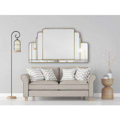 Opulence Original Handcrafted Over Mantle Mirror with Gold Trim