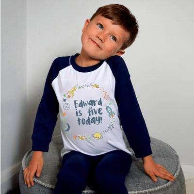 Personalised Kids Birthday Wreath Pyjamas Blue - 0-2 yrs