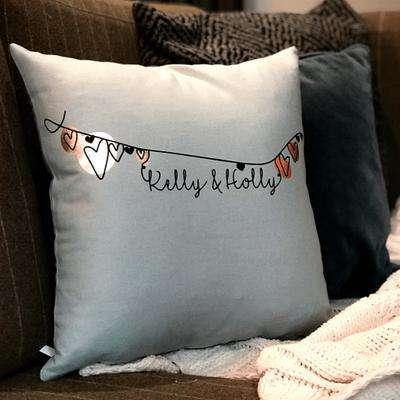 Personalised Love Heart Bunting Cushion