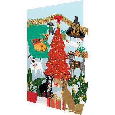 Roger la Borde Lasercut Christmas Card - Fireside Dogs