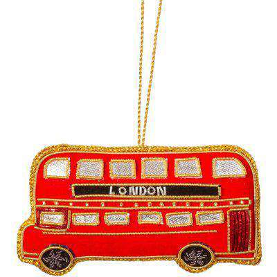 Sass & Belle London Bus Embroidery Christmas Tree Decoration