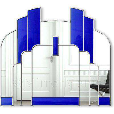 Savoy Original Handcrafted Over Mantle Art Deco Wall Mirror - Blue