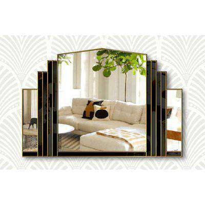 Serenity Original Handcrafted Over Mantle Mirror in Black with Gold Trim