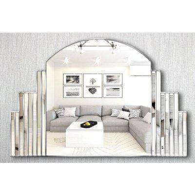 Simone Original Handcrafted Over Mantle Mirror with Silver Trim