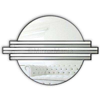 Solar Original Handcrafted Art Deco Over Mantle Circular Wall Mirror in Ebony