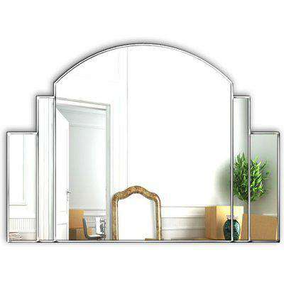 SOLD Venice Original Handcrafted Art Deco Over Mantle Wall Mirror in Silver Stock Clearance