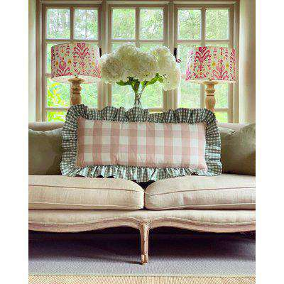 The Long Frilly Cushion Pink Gingham W/Small Green Gingham Frill