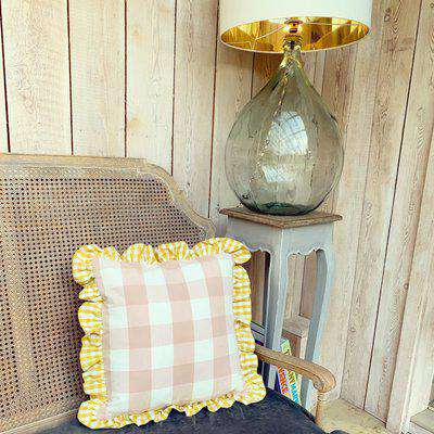The Square Frilly Cushion Pink Gingham W/Small Yellow Gingham Frill