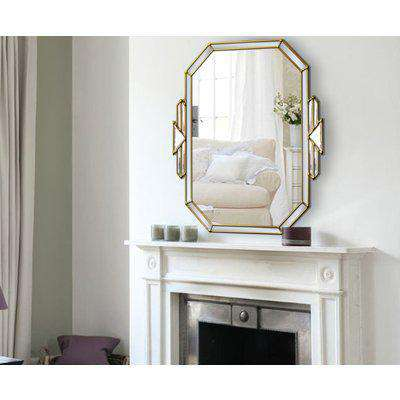 Tiffany Original Handcrafted Art Deco Over Mantle Wall Mirror with Gold Trim