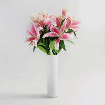 Pack of 12 Artificial Tiger Lily Pink Single Stem 75cm Pink