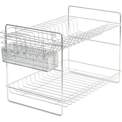 2 Tier Chrome Dish Drainer and Cutlery Holder Silver