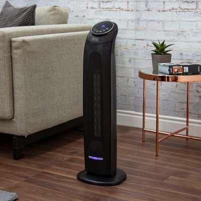 2200W PTC Ceramic Tower Fan Heater Black