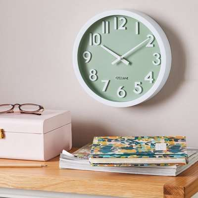3D Numbers 25cm Wall Clock Sage White and Green